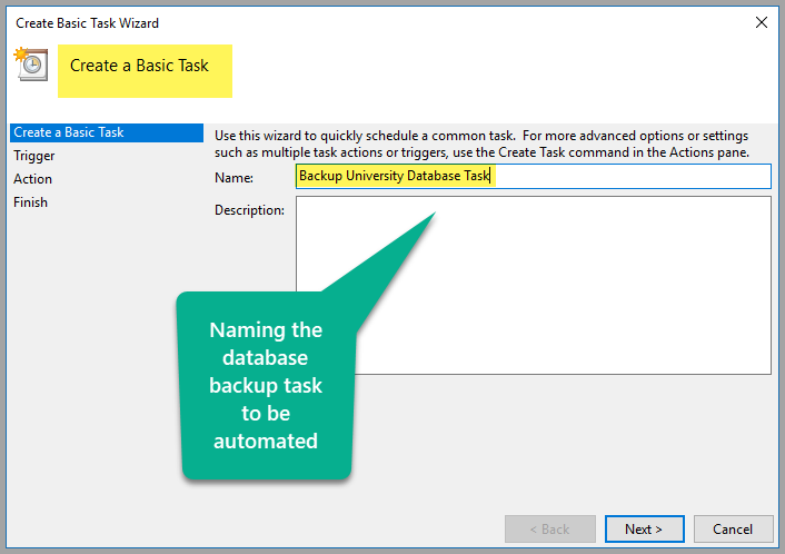 Naming the database backup task to be automated