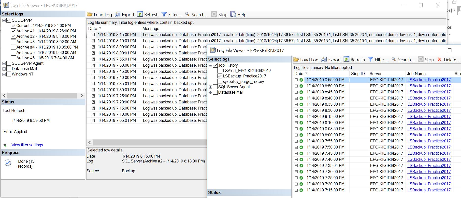 No log backups recorded in SQL Server error log