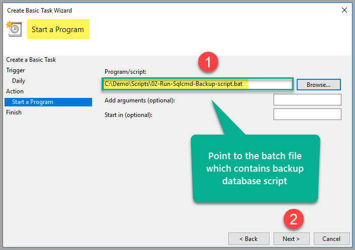 point to the batch file