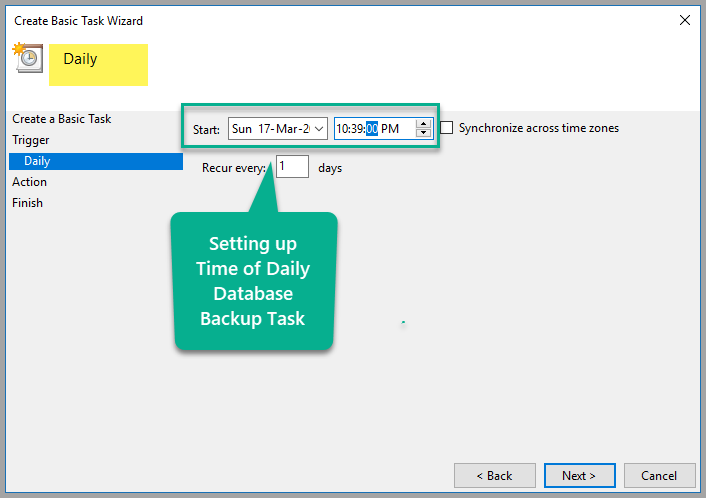 Setting up time of daily database backup task