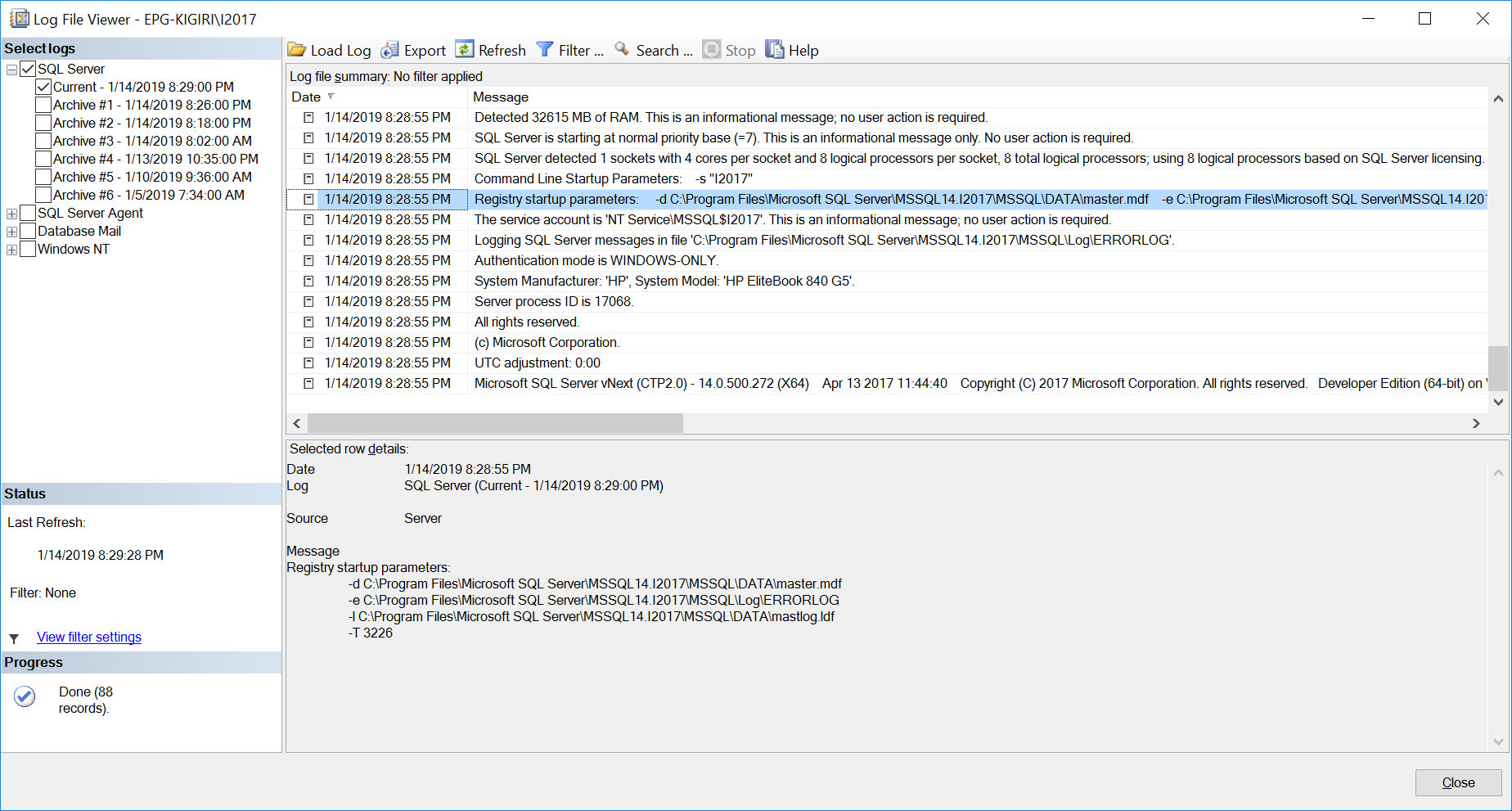 Startup parameters indicated in the sql server error log