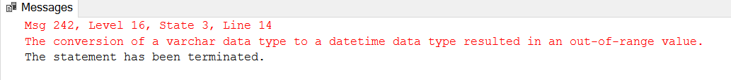 Fig. 1 Error Returned for Datetime Column