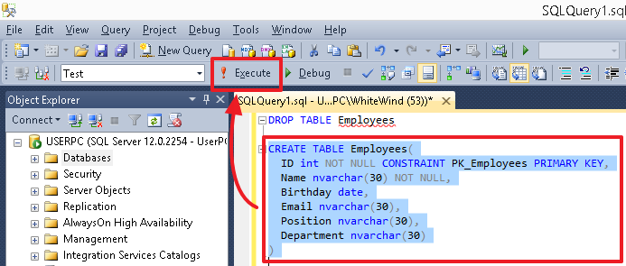 Tutorial on SQL (DDL, DML) on the example of MS SQL Server dialect