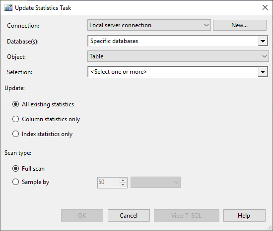 Update SQL Server statistics using a database maintenance