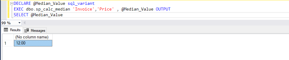 Calculate the Median with a Custom Function