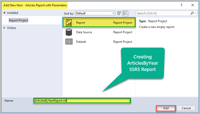 Add New Report With Parameter 2