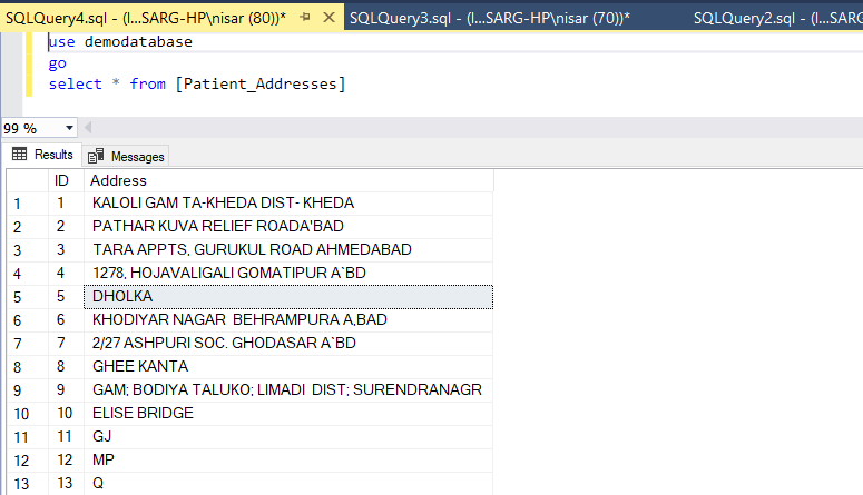 "SQL Query to insert data in ""Patient_Addresses"""