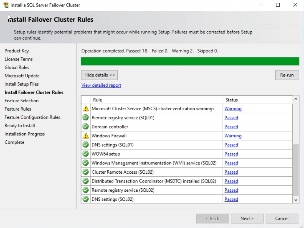 Install Failover Cluster Rules Tab