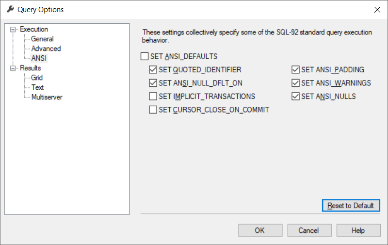 ANSI Defaults in SSMS