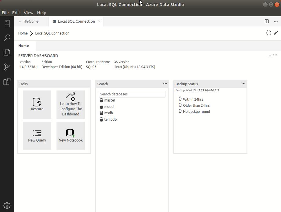 Azure Data Studio - Connection Dashboard
