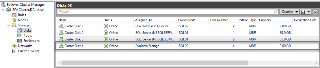 Checking the Disk in the Failover Cluster Manager