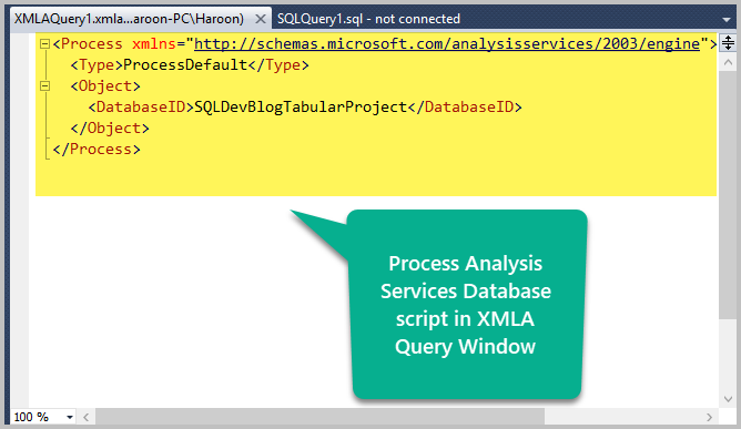 XMLA Query Window