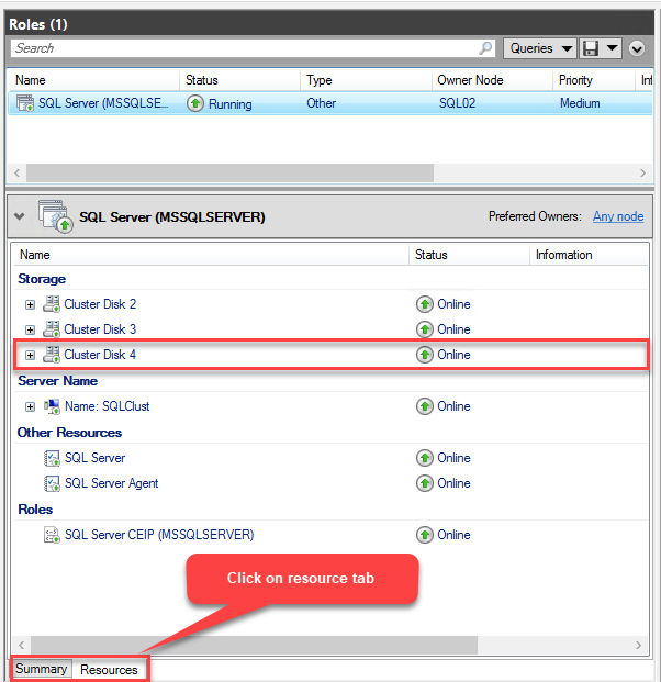 Disk is Added to the MSSQLSERVER Role