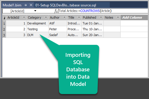 Importing Database into the Data Model