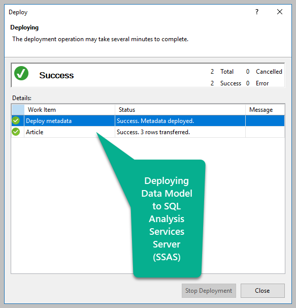 Deploying Data Model to SSAS