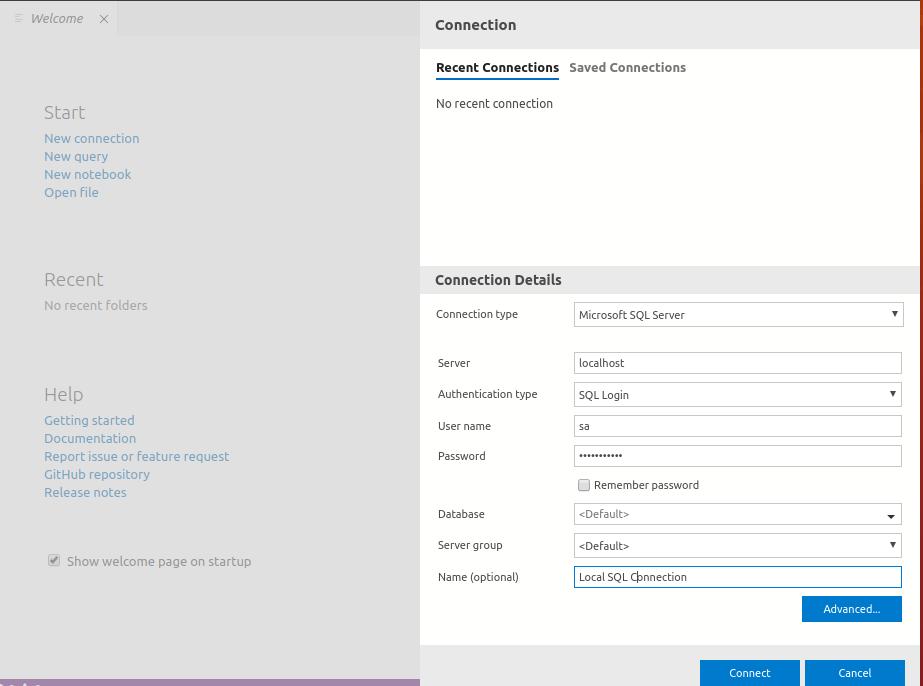 Azure Data Studio - Connection Properties Window