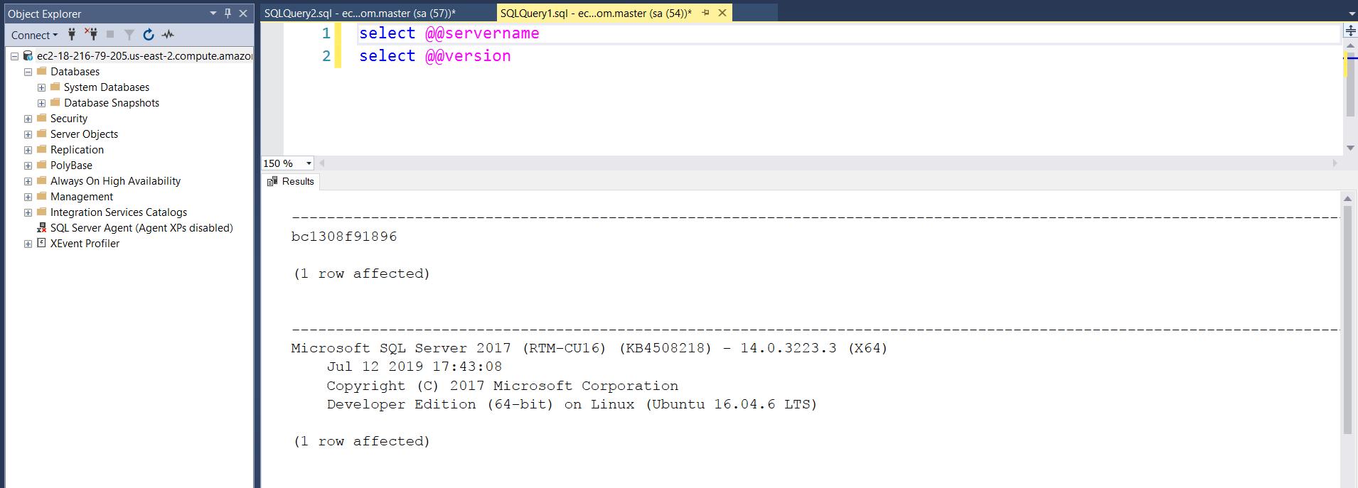 Logging on Using SSMS