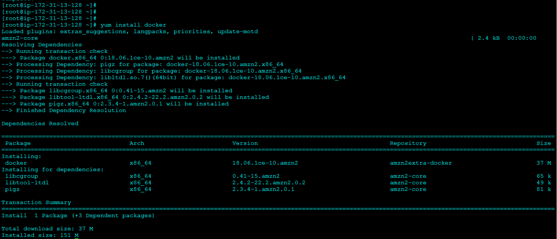 Installing Docker Using YUM