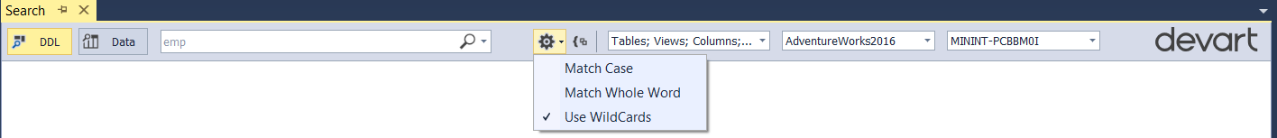 Selecting a Search Type