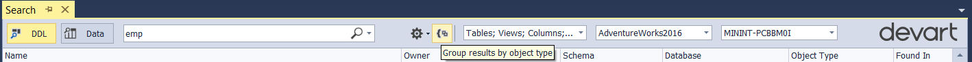 Group Results by Object Type Icon