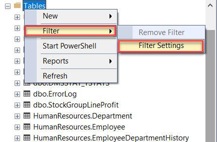 Browsing to Filter Settings