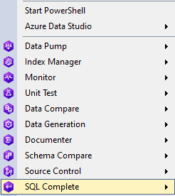 Database context menu from dbForge SQL Tools