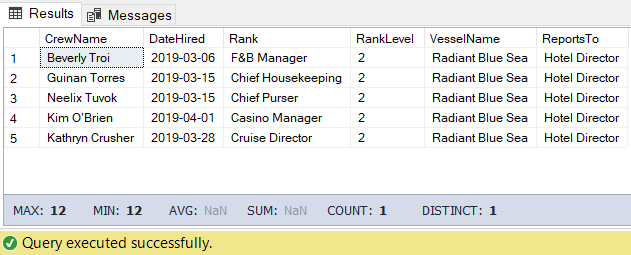 CodingSight - The result set received for the crew directly reporting to the Hotel Director query