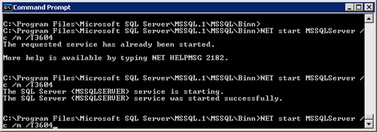 Starting SQL Server in Single user Mode