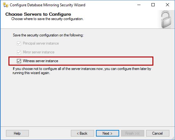 Choose Servers to Configure screen
