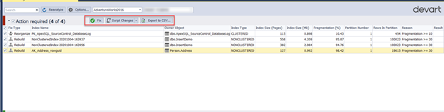 Export the actions list as a CSV report