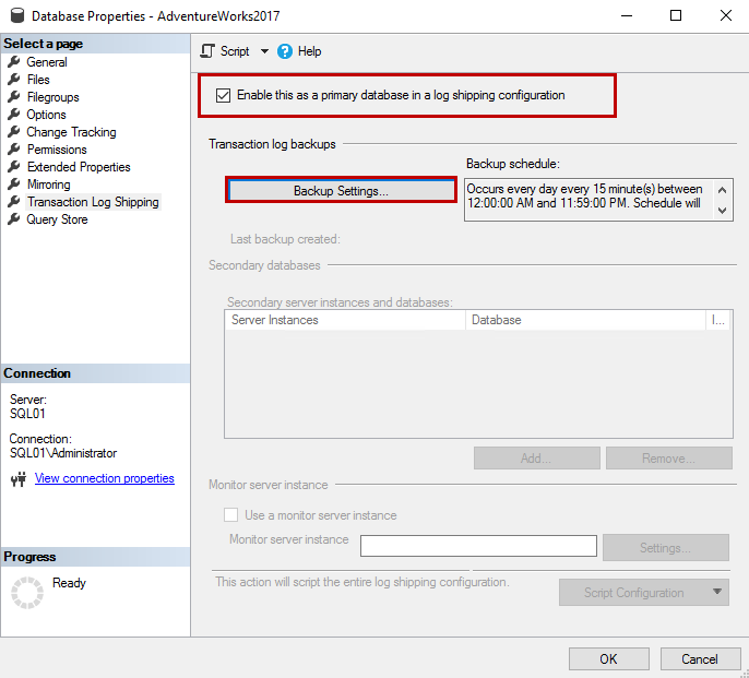 A dialog box, 'Transaction Log backup setting'