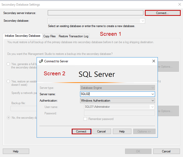 Secondary Database Settings