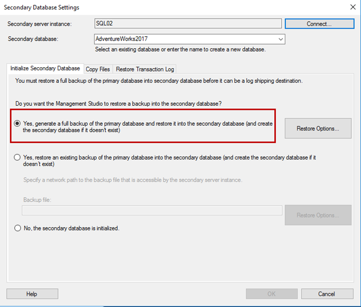 In the initialize Secondary database tab, you can set up any of the following three options to restore the database