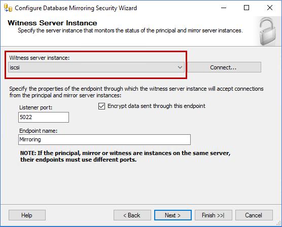 Witness Server Instance screen