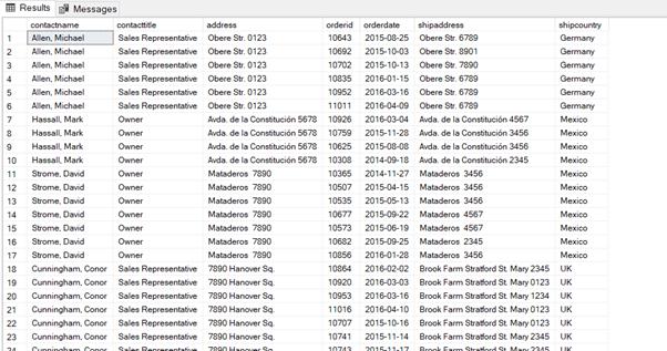 SQL Server INNER JOIN - Output of Listing 5