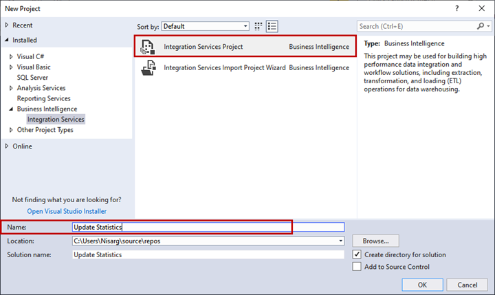 Practical creation, deployment, and execution of SSIS package - New Project dialog box
