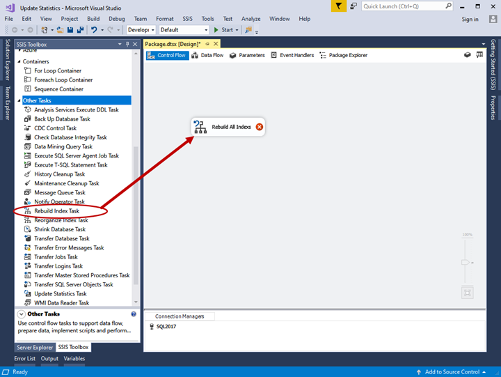 Practical creation, deployment, and execution of SSIS package. Rebuild index task