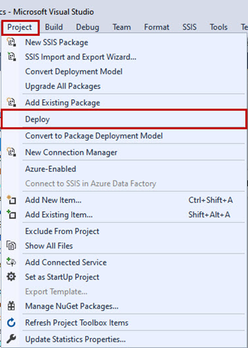 Practical creation, deployment, and execution of SSIS package. Deploy the SSIS package