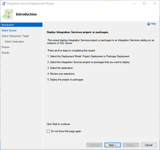 Practical creation, deployment, and execution of SSIS package. Integration Services Deployment Wizard