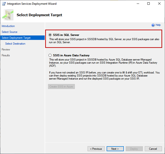 Integration Services Deployment Wizard - Select Deployment Target screen