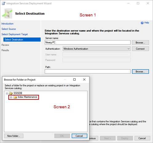 Integration Services Deployment Wizard - Select Destination screen