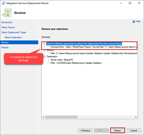 Integration Services Deployment Wizard - Review window