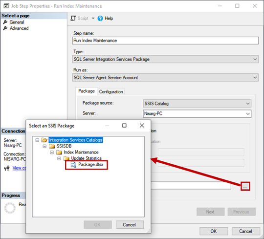 Schedule the SQL Server Integration Service Package execution. Job Step Properties dialog window