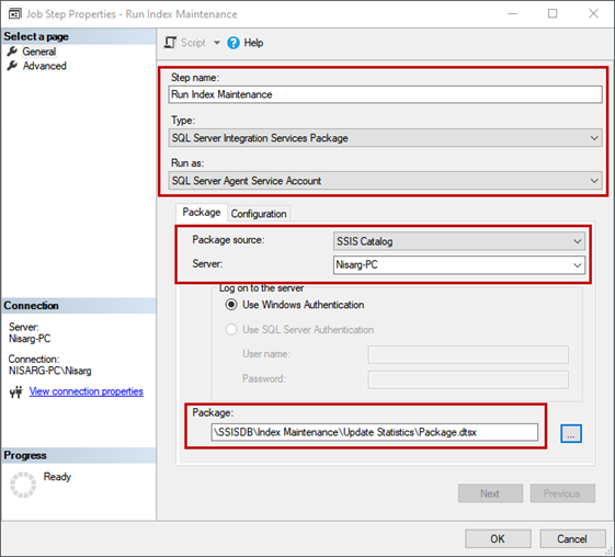 Schedule the SQL Server Integration Service Package execution. Job Step Properties dialog window configuration