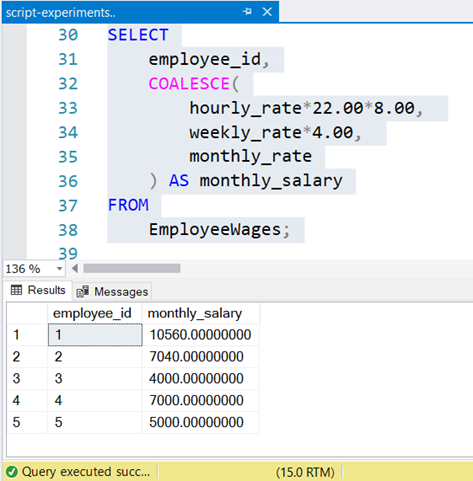 Result set of a wage query sample with different pay modes using COALESCE