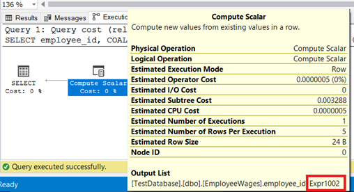 Execution plan with properties of the Compute Scalar node shown with Expr1002 as a column output