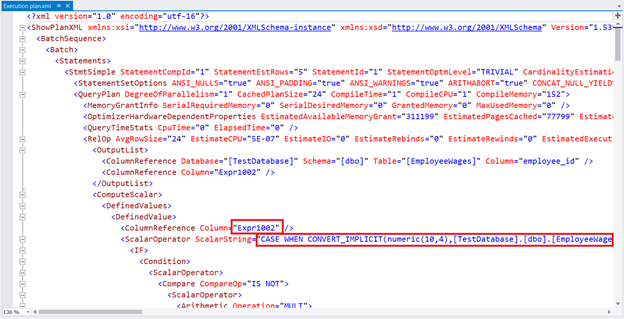 Execution Plan XML for the same wage query. Expr1002 is revealed to be the COALESCE expression converted to CASE.