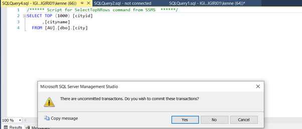 Prompt to Commit Transactions