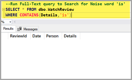 "The output of the Full-Text query to search for the word ""is"" which is another noise word"