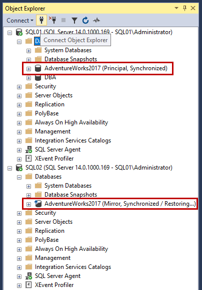 View the database mirror synchronization status from the SQL Server Management Studio